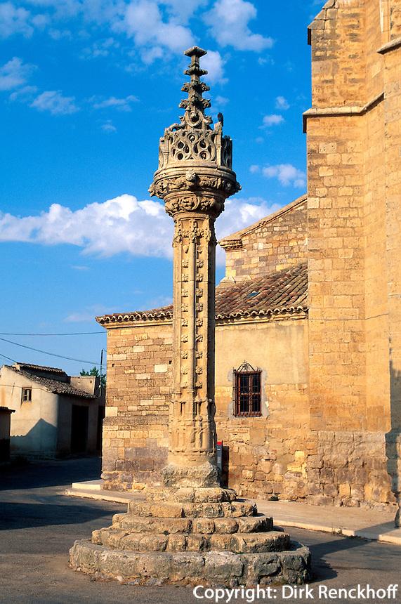 Gerichtspfeiler (Rollo) in Boadillo d.Camino, Kastilien-León, Spanien.