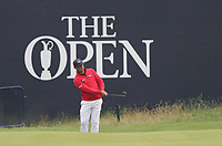 12th July 2021; The Royal St. George's Golf Club, Sandwich, Kent, England; The 149th Open Golf Championship, practice day;  Gary Woodland (USA) pitches to the 18th green