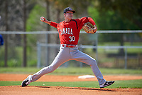 Canada Junior National Team pitcher Theo Millas (30) during an exhibition game against the Toronto Blue Jays on March 8, 2020 at Baseball City in St. Petersburg, Florida.  (Mike Janes/Four Seam Images)