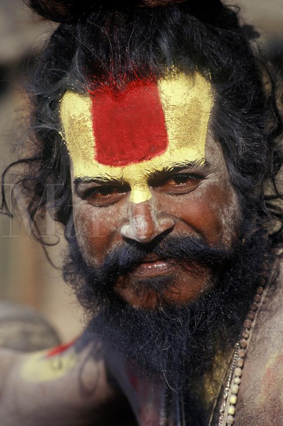 A VAISHNAVA SADHU (Hindu follower of Vishnu) at PASHUPATINATH (Hindu Temple) - KATHAMANDU, NEPAL