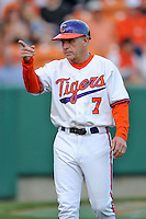 Clemson Tigers  Head Coach Jack Leggett #7 during a game against the Virginia Cavaliers  at Doug Kingsmore Stadium on March 15, 2013 in Clemson, South Carolina. The Cavaliers won 6-5.(Tony Farlow/Four Seam Images).
