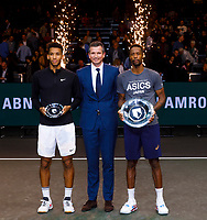 Rotterdam, The Netherlands, 16 Februari 2020, ABNAMRO World Tennis Tournament, Ahoy,<br /> Mens Single Final:  Prizegiving: ltr:  runner up Felix Auger-Aliassime (CAN), tournament dirctor Richard Krajicek, winner Gaël Monfils (FRA) <br /> Photo: www.tennisimages.com