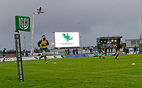 1st October 2021;  The Sportsground, Galway, Ireland; United Rugby Championships, Connacht versus Bulls; General view of a United Rugby Championships flag as the Connacht squad warm up under stormy skies