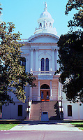 """Merced CA: County Courthouse, 1875. West Elev, Entrance. County Commissioners said they received """"full value"""" for $30,000."""