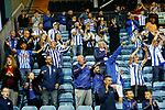 Kilmarnock fans celebrate at full time. Kilmarnock 2 Ayr United 0, Scottish Championship, August 2nd 2021. Following Kilmarnock's relegation in 2020-21, the first game of the new season is the Ayreshire Derby, the first league match between the teams in 28 years. Due to relaxation of Covid restrictions the match was played in front of a crowd of 3200 Kilmarnock fans. The game was shown live on BBC Scotland.