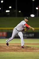 Salt River Rafters starting pitcher Luis Reyes (49), of the Washington Nationals organization, follows through on his delivery during an Arizona Fall League game against the Mesa Solar Sox at Sloan Park on October 16, 2018 in Mesa, Arizona. Salt River defeated Mesa 2-1. (Zachary Lucy/Four Seam Images)