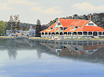 """Lakemont Park with Leap the Dips roller coaster and the Casino by the lake in the Victorian era, circa 1900. Available as a 12.5"""" x 17.5"""" fine art limited edition lithograph."""