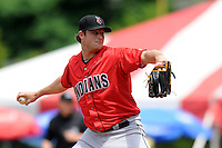 Indianapolis Indians starting pitcher Gerrit Cole #45 during a game versus the Pawtucket Red Sox at McCoy Stadium in Pawtucket, Rhode Island on May 19, 2013.  (Ken Babbitt/Four Seam Images)