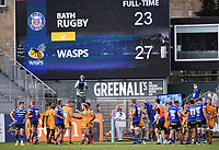 31st August 2020; Recreation Ground, Bath, Somerset, England; English Premiership Rugby, Bath versus Wasps; players embrace after the final whistle, Wasps winning 27-23