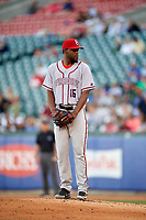 Syracuse Chiefs relief pitcher Wander Suero (16) gets ready to deliver a pitch during a game against the Buffalo Bisons on July 6, 2018 at Coca-Cola Field in Buffalo, New York.  Buffalo defeated Syracuse 6-4.  (Mike Janes/Four Seam Images)