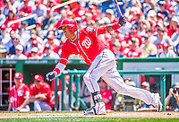 24 May 2015: Washington Nationals infielder Yunel Escobar at bat against the Philadelphia Phillies at Nationals Park in Washington, DC. The Nationals defeated the Phillies 4-1 to take the rubber game of their 3-game weekend series. Mandatory Credit: Ed Wolfstein Photo *** RAW (NEF) Image File Available ***
