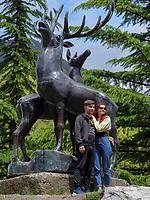 Hirsch-Skulptur bei Passanauri an der georgischen Heerstraße, Mzcheta-Mtianeti, Georgien, Europa<br /> deer-sculpture near Passanauri  at Geogian Military Road , Mzcheta-Mtianeti, Georgia, Europe