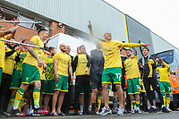 1st May 2021; Carrow Road, Norwich, Norfolk, England, English Football League Championship Football, Norwich versus Reading; Emi Buendia of Norwich City celebrates with fans after winning the EFL championship