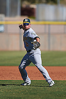 Oakland Athletics Trace Loehr (2) during an instructional league game against the Los Angeles Angels on October 9, 2015 at the Tempe Diablo Stadium Complex in Tempe, Arizona.  (Mike Janes/Four Seam Images)