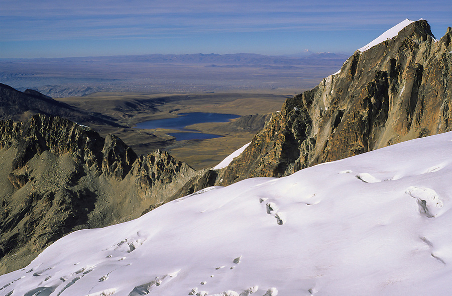 Climbing Huayna Potosi with La Paz in the background, Bolivia, 1999.