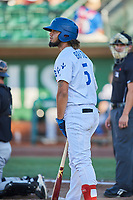Ronny Brito (5) of the Ogden Raptors bats against the Missoula Osprey at Lindquist Field on July 12, 2018 in Ogden, Utah. Missoula defeated Ogden 11-4. (Stephen Smith/Four Seam Images)