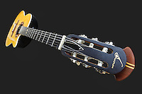 A classic guitar from close view with perspective