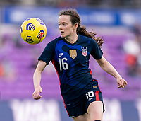 ORLANDO, FL - FEBRUARY 21: Rose Lavelle #16 of the USWNT controls the ball during a game between Brazil and USWNT at Exploria Stadium on February 21, 2021 in Orlando, Florida.