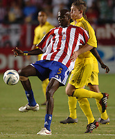 September 3, 2005 Photo by Matt A. Brown/ISI.Chivas USA's (5) Ezra Hendrickson keeps the ball away from Columbus Crew (11) John Wolyniec  in the first half.