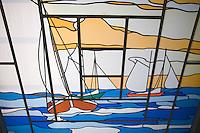 """Europe/France/Normandie/Haute-Normandie/76/Seine-Maritime/ Varengeville-sur-Mer:  Hotel-Restaurant """"La Terrasse"""" à Vasterival - Hôtel 1900- détail du vitrail de  l'entrée"""