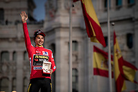 red jersey (overall leader) Primoz Roglic (SVK/Jumbo-Visma) celebrates his first ever Grand Tour win<br /> <br /> Stage 21: Fuenlabrada to Madrid (107km)<br /> La Vuelta 2019<br /> <br /> ©kramon