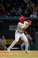 Memphis Redbirds Justin Williams (35) bats during a game against the Jacksonville Jumbo Shrimp on September 25, 2021 at 121 Financial Ballpark in Jacksonville, Florida.  (Mike Janes/Four Seam Images)