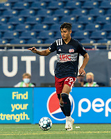 FOXBOROUGH, MA - AUGUST 7: Nicolas Firmino #29 of New England Revolution II dribbles at midfield during a game between Orlando City B and New England Revolution II at Gillette Stadium on August 7, 2020 in Foxborough, Massachusetts.