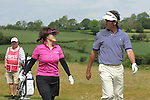 ISPS Handa Wales Open 2012.Midori Miyazaki from ISPS gets chats with her teams professional Gonzalo Fdez-Castano during the Pro-Am...30.05.12.©Steve Pope