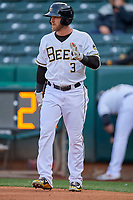 Taylor Ward (3) of the Salt Lake Bees bats against the Tacoma Rainiers at Smith's Ballpark on May 27, 2019 in Salt Lake City, Utah. The Bees defeated the Rainiers 5-0. (Stephen Smith/Four Seam Images)