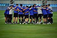 SAN JOSE, CA - SEPTEMBER 16: San Jose Earthquakes players huddle before a game between Portland Timbers and San Jose Earthquakes at Earthquakes Stadium on September 16, 2020 in San Jose, California.