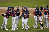 Japan celebrates winning semi final game during World Baseball Championship at Petco Park in San Diego,California on March 18, 2006. Photo by Larry Goren/Four Seam Images