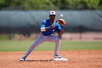 Toronto Blue Jays second baseman Samad Taylor (20) during a Minor League Spring Training game against the Philadelphia Phillies on March 29, 2019 at the Carpenter Complex in Clearwater, Florida.  (Mike Janes/Four Seam Images)