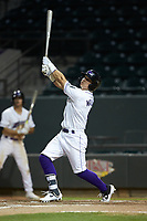 Steele Walker (6) of the Winston-Salem Dash follows through on his swing against the Lynchburg Hillcats at BB&T Ballpark on May 9, 2019 in Winston-Salem, North Carolina. The Dash defeated the Hillcats 4-1. (Brian Westerholt/Four Seam Images)