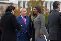 United States Senator Bob Menendez (Democrat of New Jersey) speaks to New York Attorney General Letitia James after the Supreme Court heard arguments on the Deferred Action for Childhood Arrivals program in Washington D.C., U.S. on Tuesday, November 12, 2019.<br /> <br /> Credit: Stefani Reynolds / CNP /MediaPunch