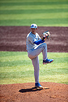Duke Blue Devils pitcher Luke Fox (41) delivers a pitch to the plate against the Wright State Raiders in NCAA Regional play on Robert M. Lindsay Field at Lindsey Nelson Stadium on June 5, 2021, in Knoxville, Tennessee. (Danny Parker/Four Seam Images)