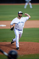 Dunedin Blue Jays relief pitcher Jake Fishman (26) delivers a pitch during a game against the Lakeland Flying Tigers on May 27, 2018 at Dunedin Stadium in Dunedin, Florida.  Lakeland defeated Dunedin 2-1.  (Mike Janes/Four Seam Images)