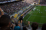 Internazionale 1 Cagliari 2, 16/10/2016. San Siro, Italian Serie A. Home fans celebrating Joao Mario's 55th minute goal at the Stadio Giuseppe Meazza, also known as the San Siro, as Internazionale took on Cagliari in an Italian Serie A fixture. The match was overshadowed by a huge controversy that as Inter Ultras declared open warfare on captain Mauro Icardi for a chapter in his autobiography, accusing him of lying about an incident in 2015. Inter Milan lost the match 2-1, watched by a crowd of 43,757. Photo by Colin McPherson.