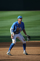 Kyle Karros (44) of the UCLA Bruins during a game against the Arizona Wildcats at Jackie Robinson Stadium on March 20, 2021 in Los Angeles, California. Arizona defeated UCLA, 7-3. (Larry Goren/Four Seam Images)