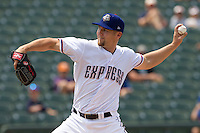 Round Rock Express starting pitcher Ryan Feierabend (37) delivers a pitch to the plate against the Colorado Springs Sky Sox in the Pacific Coast League baseball game on May 19, 2013 at the Dell Diamond in Round Rock, Texas. Colorado Springs defeated Round Rock 3-1 in 10 innings. (Andrew Woolley/Four Seam Images).