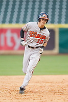 Jake MacWilliam #10 of the Sam Houston State Bearkats rounds the bases after hitting a home run against the Texas Christian Horned Frogs at Minute Maid Park on February 28, 2014 in Houston, Texas.  The Bearkats defeated the Horned Frogs 9-4.  (Brian Westerholt/Four Seam Images)
