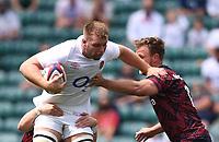 4th July 2021; Twickenham, London, England; International Rugby, Autumn Internationals, England versus United States of America; Callum Chick of England hands off Calvin Whitin of USA