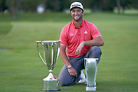 30th August 2020, Olympia Fields, Illinois, USA; Jon Rahm of Spain celebrates with the J.D. Wadley trophy and the BMW trophy after winning on the first sudden-death playoff hole against Dustin Johnson (not pictured) during the final round of the BMW Championship on the (North) Course at Olympia Fields Country Club