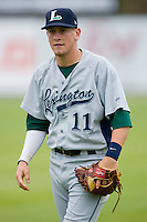 Jonathan Meyer #11 of the Lexington Legends at Fieldcrest Cannon Stadium April 14, 2010, in Kannapolis, North Carolina.  Photo by Brian Westerholt / Four Seam Images