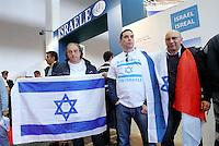 - Torino, Fiera del Libro, militanti ebrei manifestano davanti allo stand di Israele ....- Turin, Book Fair, Jewish supporters demonstrate outside Israelian stand
