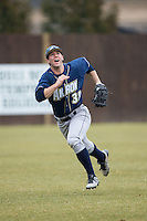 Akron Zips left fielder Dan Lawrence (38) chases after a fly ball during the game against the Charlotte 49ers at Hayes Stadium on February 22, 2015 in Charlotte, North Carolina.  The Zips defeated the 49ers 5-4.  (Brian Westerholt/Four Seam Images)