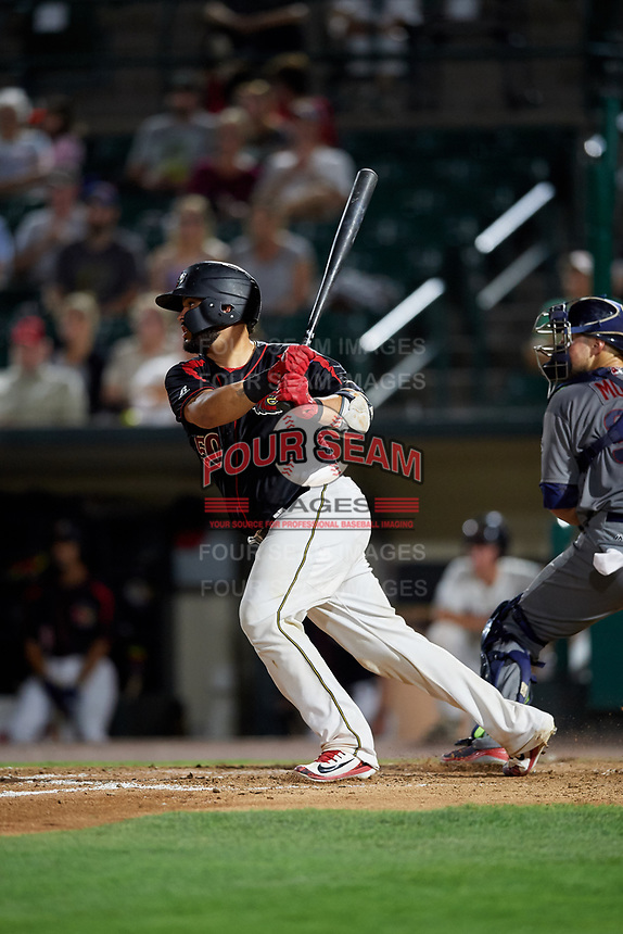 Rochester Red Wings catcher Juan Graterol (50) hits a single during a game against the Lehigh Valley IronPigs on September 1, 2018 at Frontier Field in Rochester, New York.  Lehigh Valley defeated Rochester 2-1.  (Mike Janes/Four Seam Images)