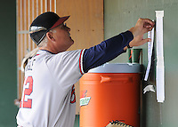 May 18, 2009: Manager Randy Ingle (12) of the Rome Braves posts the lineup card in the dugout before a game against the Greenville Drive at Fluor Field at the West End in Greenville, S.C. Photo by: Tom Priddy/Four Seam Images
