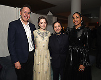 """NEW YORK CITY - OCTOBER 4: (L-R) Jordan Helman, Head of Hulu Scripted Content, Kaitlin Dever, Executive Producer Danny Strong, and Rosario Dawson attend the red carpet premiere of Hulu's """"DOPESICK"""" at the Museum of Modern Art on October 4, 2021 in New York City. . (Photo by Frank Micelotta/Hulu/PictureGroup)"""