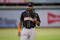 Jupiter Hammerheads outfielder Lorenzo Hampton (38) during warmups before a game against the Bradenton Marauders on June 26, 2021 at LECOM Park in Bradenton, Florida.  (Mike Janes/Four Seam Images)
