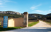 The entrance to the winery, sign saying Chateau Barmanau, Clos Val-Bruyere Château Barbanau and Clos Val-Bruyere Cassis Cote d'Azur Var France